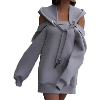 Autumn Winter Hoodie Dresses For Women Off-Shoulder Sweater Shirts Casual Oversize Vestidos Female Hoody Tops 7