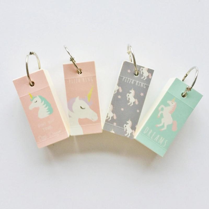 Cute Unicorn Memo Note Binder Ring Easy Flip Flash Cards Study Memo Pads Iron Ring Student Mini Portable Word Book DIY