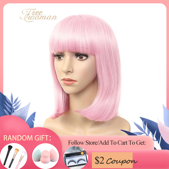 FREEWOMAN12inch Synthetic Bob Wigs For Women Short Bob Wig With Bangs Fake Hair Extension Pink Purple Black Wig Heat Resistant 2 6 inch bob short wig with flat bangs black 100% breathable realistic high temperature resistant synthetic wig