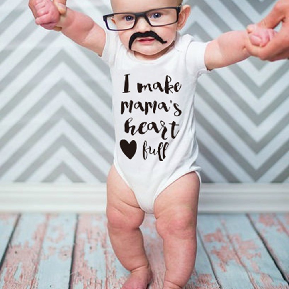 Infant Baby Boys Bodysuit Short-Sleeve Onesie Heart Instrument Print Rompers Summer Pajamas