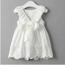 Летнее платье для девочек, однотонное белое темпераментное повседневное праздничное платье принцессы без рукавов с вышивкой, детская одеж...