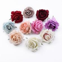 100 pçs casamento flores decorativas grinaldas rosas de seda cabeça flores artificiais atacado acessórios de noiva apuramento decoração para casa