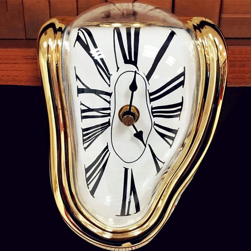 Gold Kuinayouyi Melting Clock Block-Type Twisted Clock,Melted Clock for Decorative Home Office Shelf Desk Table Funny Gift