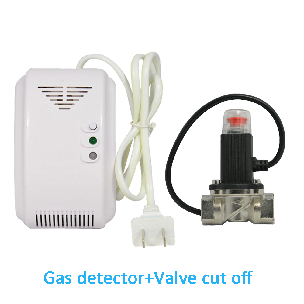 (1 Set) Home Security Coal Gas Natural Gas LPG Leak Sensor With Valve Cut Off Piping Europe Adapter Fire Alarm Gas Sensor