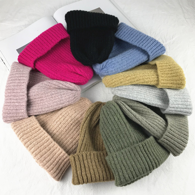 New Solid Wool Beanie Knitted Warm Soft Trendy Winter Hats Simple Korean Style Women Wool Casual Caps Elegant All match Beanie