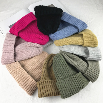 New Solid Wool Beanie Knitted Warm Soft Trendy Winter Hats Simple Korean Style Women Wool Casual Caps Elegant All-match Beanie