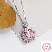 925 Серебряное Стерлинговое ожерелье розовое VVS1 алмазные подвески для женщин Роскошные Pierscionki серебряные украшения с драгоценными камнями Bizuteria кулон