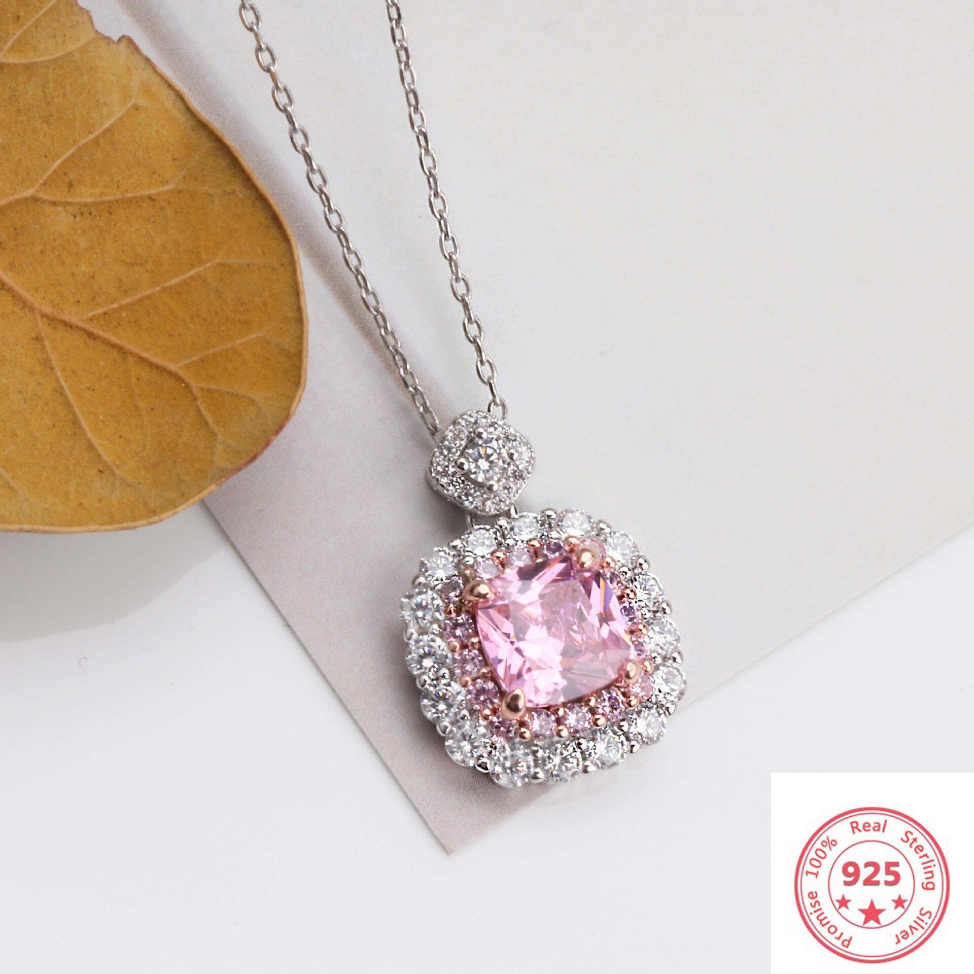 925 Sliver Sterling Necklace Pink VVS1 Diamond Pendants For Women Luxury Pierscionki Silver Jewelry Gemstone Bizuteria Pendant