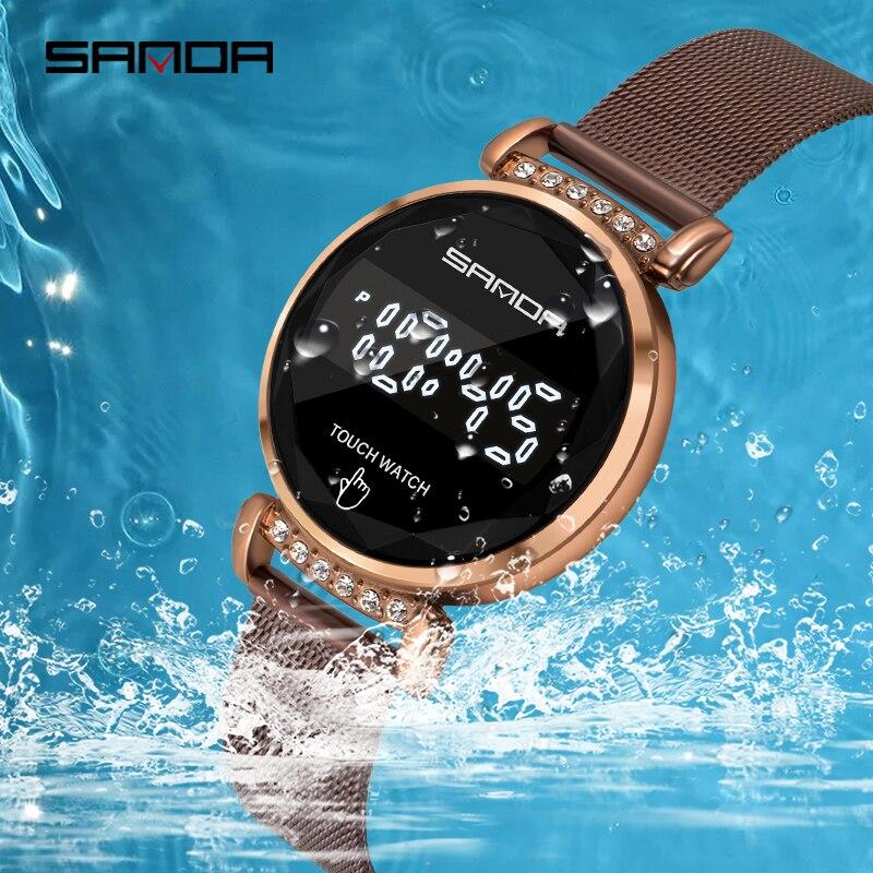 SANDA-montre-bracelet numérique, marque de luxe, écran tactile 30M, étanche, horloge, robes pour femmes, montre pour femme 6