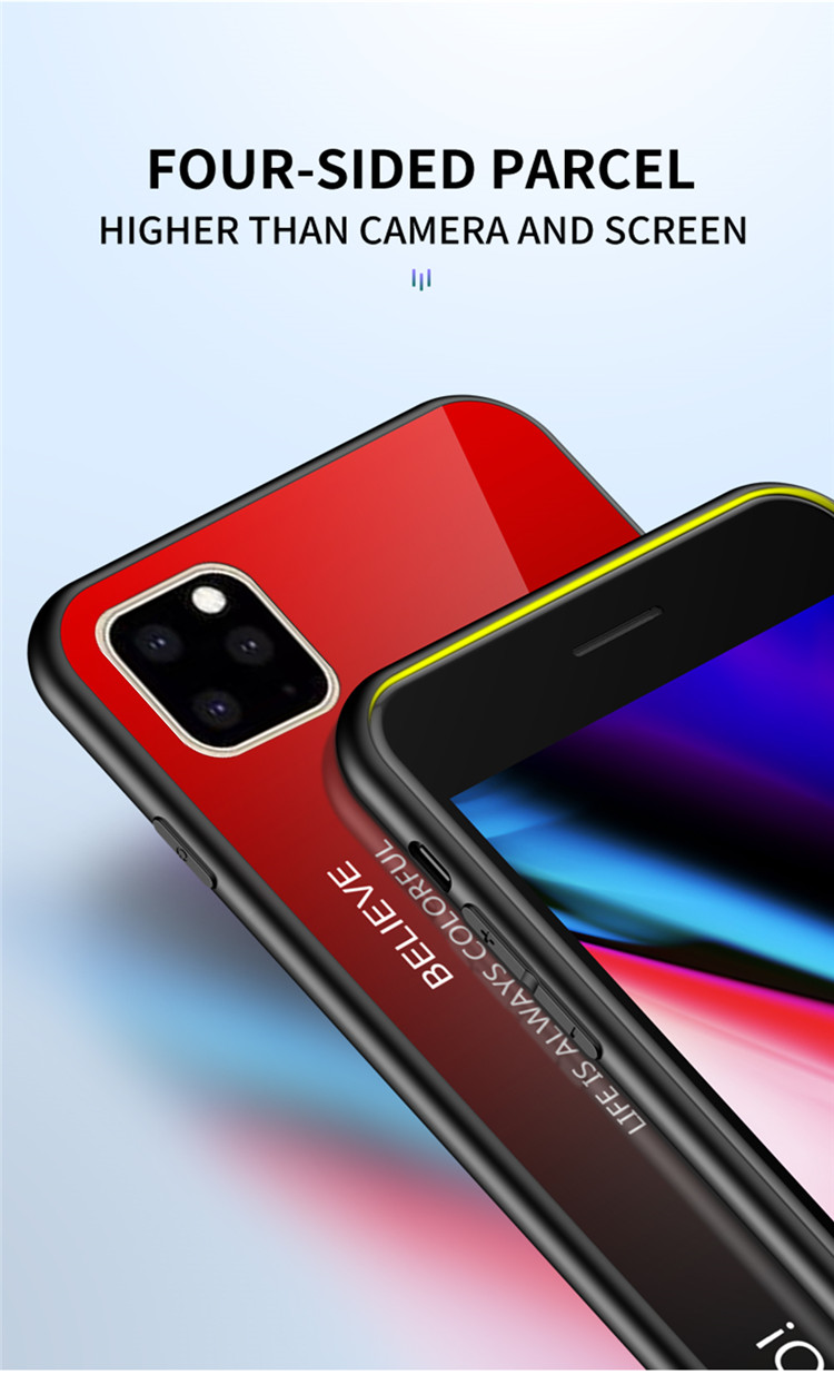 Ollyden Gradient Tempered Glass Cases for iPhone 11/11 Pro/11 Pro Max 8