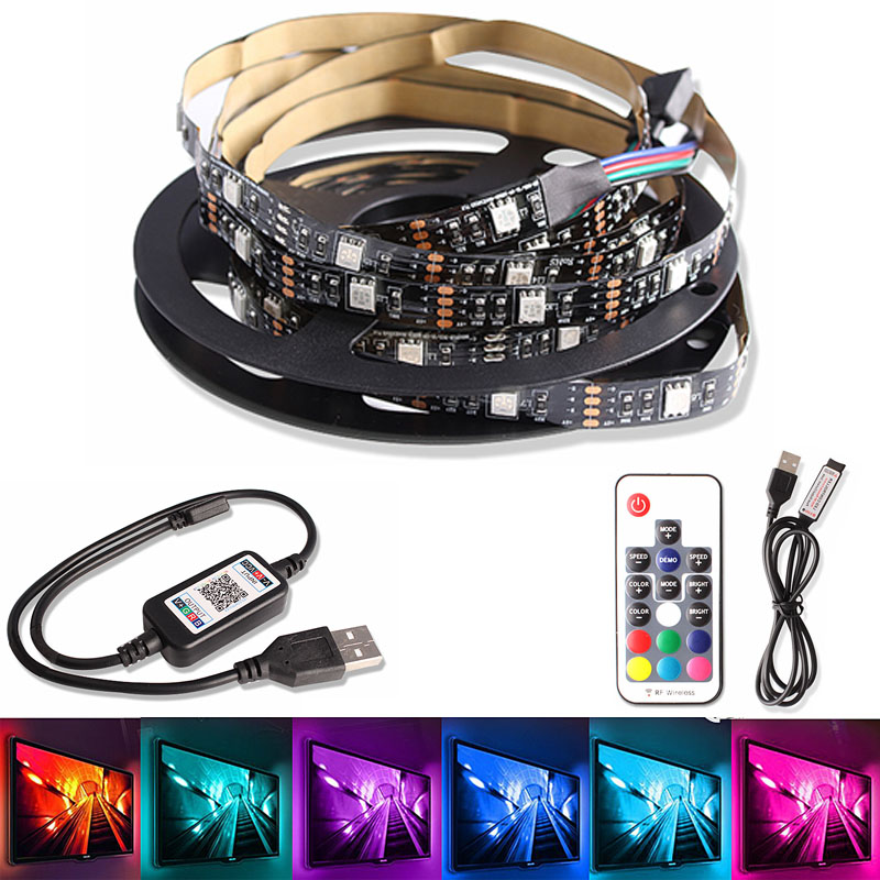 5050 USB Led Strip 5V RGB Ribbon Led 0.5CM 1M 2M 3M Flexible Diode Tape TV Backlight With Bluetooth Music Remote Controller