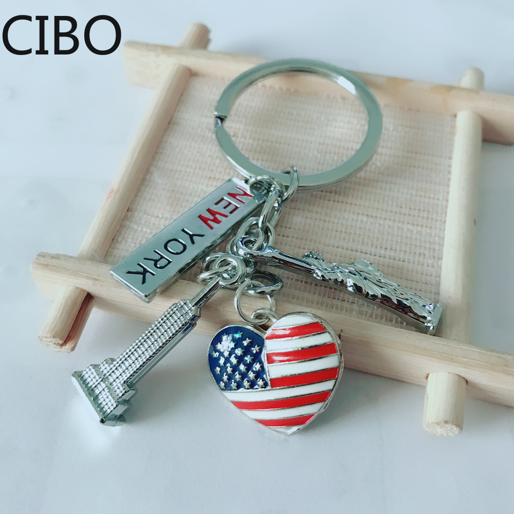 2019 New New-York-Flag Keychain Zinc Alloy Statue-Of-Liberty Vicney-Empire-State-Building Key Chain Gift Friend Souvenir Keyring