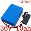 36В LiFePO4 аккумулятор 36В 10ач литиевая батарея 500 Вт 36В 10ач 15ач Электрический велосипед батарея с 2A зарядное устройство Бесплатная доставка