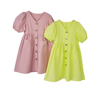 Image 1 - Baby Princess Dress Girls Dress Kids Summer Dress 2020 New Cotton Lantern Sleeve Mother and Me Cute Dress Retro V neck,#5266