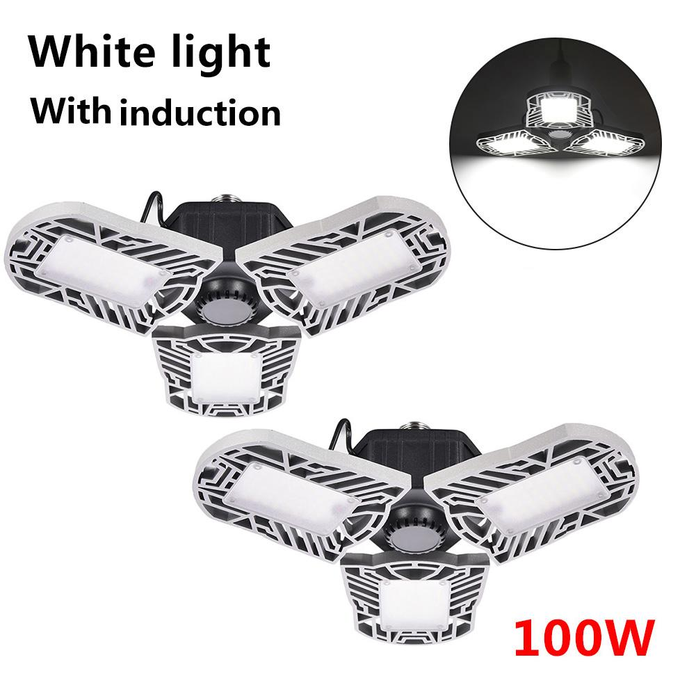 2pcs 100w Motion Activated Garage Lamp LED Deformable Ceiling Light Super Bright  Industrial Light E27 Workshop Warehouse Lamp