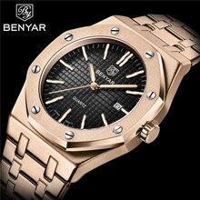 Benyar masculino relógio de pulso masculino militar do esporte da marca de luxo rosa ouro à prova dmilitary água aço inoxidável calendário homem 5156