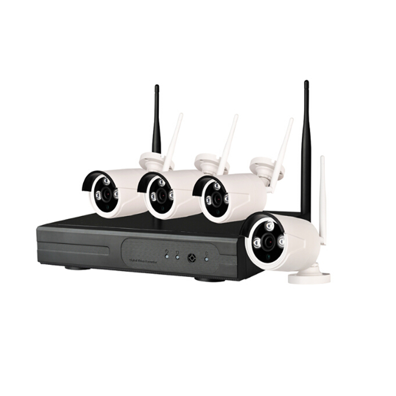 2.0 megapixel 1080P 4CH Wifi NVR KIT Wireless IP Camera System Signal Range 100 Meters Across 4 Wall Support Wifi IP Camera
