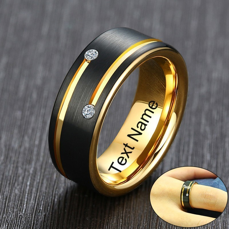 Vnox Free Custom Name Ring for Men Black Tungsten Carbide Wedding Band with Gold Tone Lines AAA CZ Stones Gent Anel