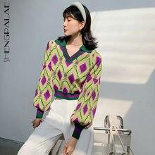 SHENGPAPALE temperamento Argyle Jacquard suéter de primavera de las mujeres 2021 solapa nueva linterna de punto manga Tops Jersey mujer 5B737