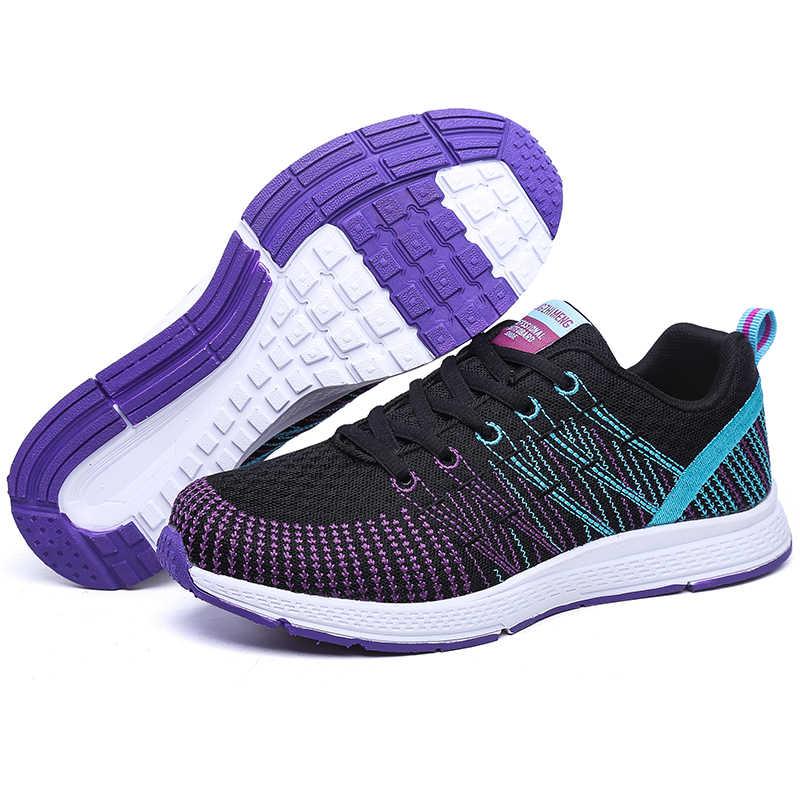 Décontracté femmes chaussures baskets plates maille dames chaussures décontracté lacets occasionnels chaussures femmes mode confortable grande taille