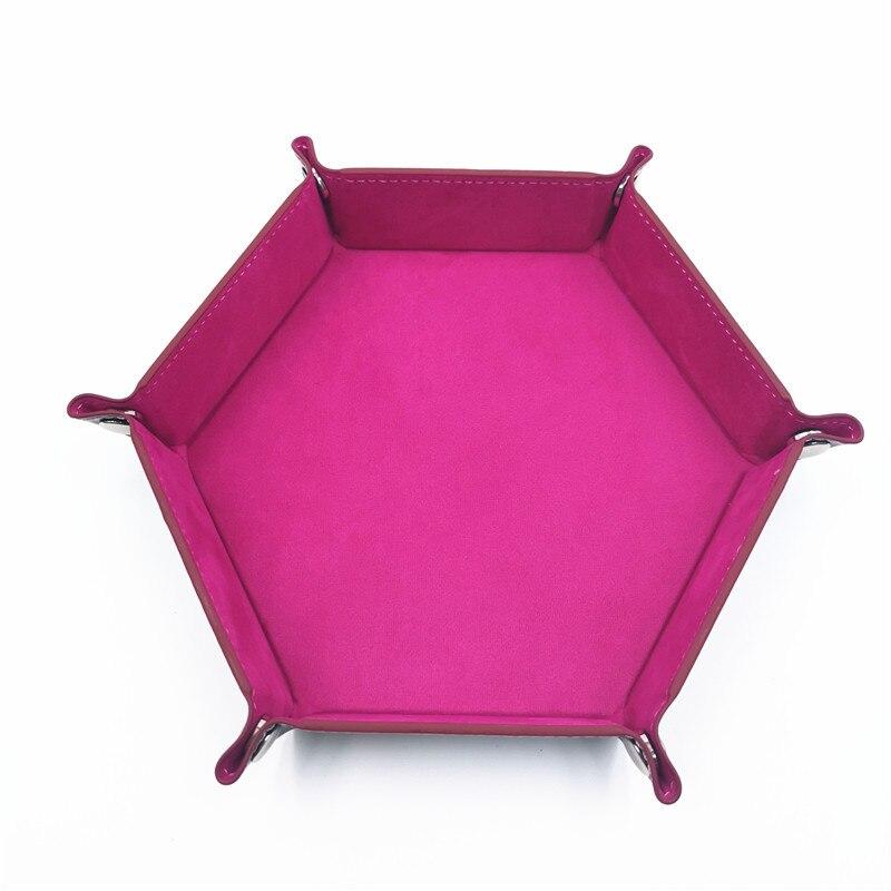 Игральные кости DND лоток dados de rol для хранения 14 цветов шестигранный бархатный тканевый Пинцет дисковый складной ящик для хранения pu лоток Настольный ящик для хранения - Цвет: Rose red