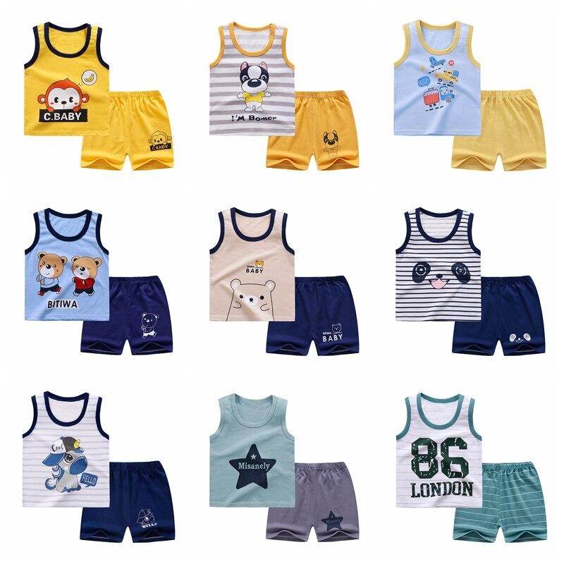 קיץ ילדים של אפוד סט טהור כותנה תינוק ללא שרוולים אפוד 2 מקשה בגדי ילד של בגדי סט תינוק פעוט בגדים עבור ילד
