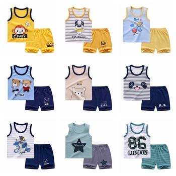 Letnie ubrania dla dzieci zestaw kamizelek czystej bawełny dziecko kamizelka bez rękawów 2-kawałek ubrania chłopiec odzież dziecięca zestaw ubrania dla niemowląt dla chłopca tanie i dobre opinie COTTON W wieku 0-6m 7-12m 13-24m 25-36m CN (pochodzenie) Lato Dziecko dla obu płci moda Z okrągłym kołnierzykiem Zestawy