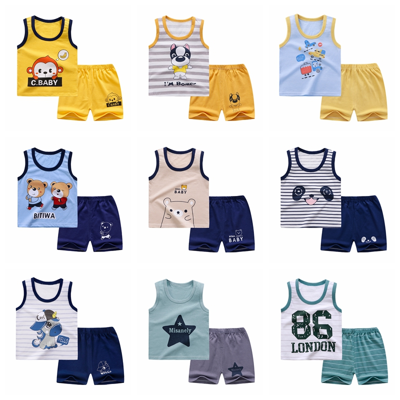 Summer Children's Vest Set Pure Cotton Baby Sleeveless Vest 2 piece Clothes Boy's Clothing Set Baby Toddler Clothing For Boy