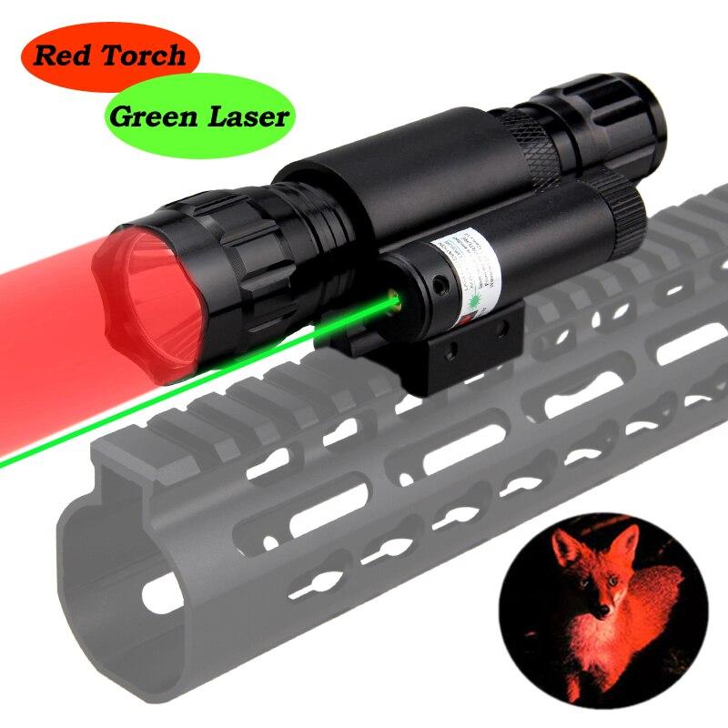 501B Q5 LED Red Rifle Gun Light Airsoft Linterna Hunting Weapon Flashlight+20mm Rail Mount Green Laser Pen Dot+18650+CR2+Charger