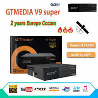 GT media Satellite Receiver V9 Super DVB-S2 H2.65 FREESAT V9 SUPER Satellite TV Receiver HD 1080P with 2 Year 6 Clines Lines