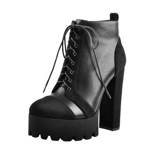 Image 3 - Onlymaker Women Platform 13~14cm Heels Lace up Flock ankle boots thick high heel Zip for women plus size