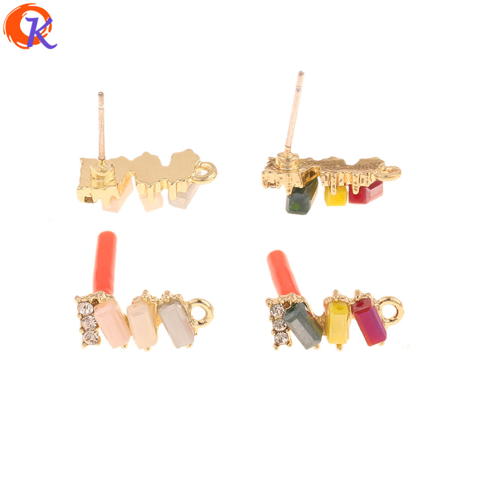 Cordial Design 50Pcs 6*15MM Jewelry Accessories/Crystal Earring Stud/DIY Earrings Making/Stick Shape/Hand Made/Earring Findings