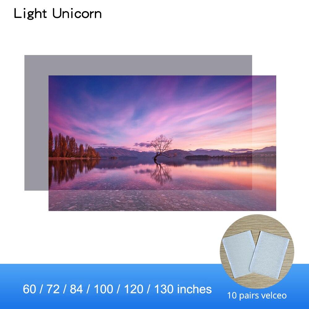 Luz unicórnio tela do projetor reflexivo de alto brilho 60 72 84 100 120 130 polegadas 16:9 tela pano para espon xgimi