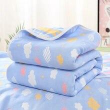 Manta de algodón de muselina para bebé recién nacido, conjunto de ropa de cama infantil de 6 capas, 110x110cm