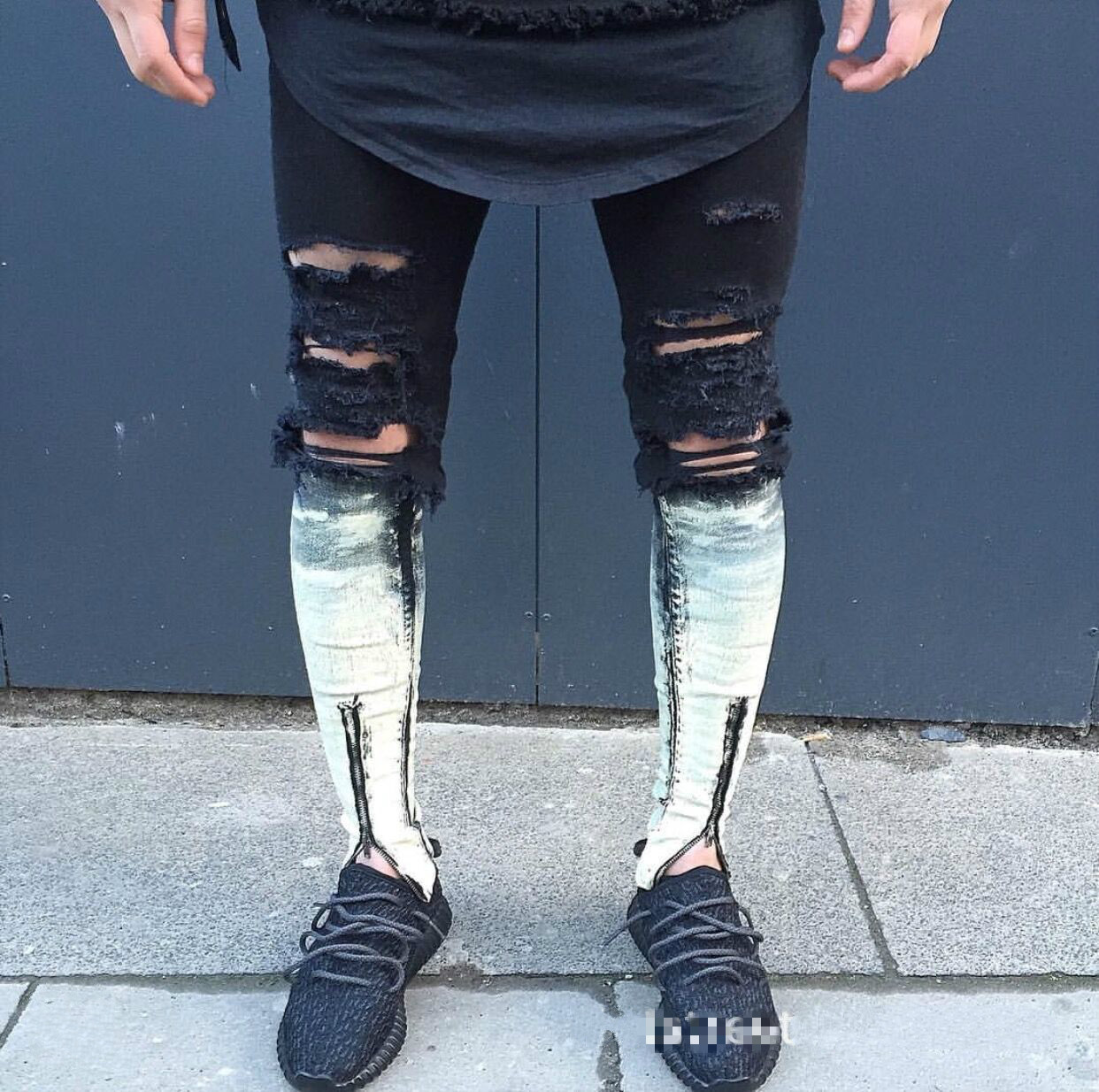 High Street American Locomotive Knee Washing Retro With Holes Gradient Elasticity Jeans Slim Fit Pants Zipper Pants