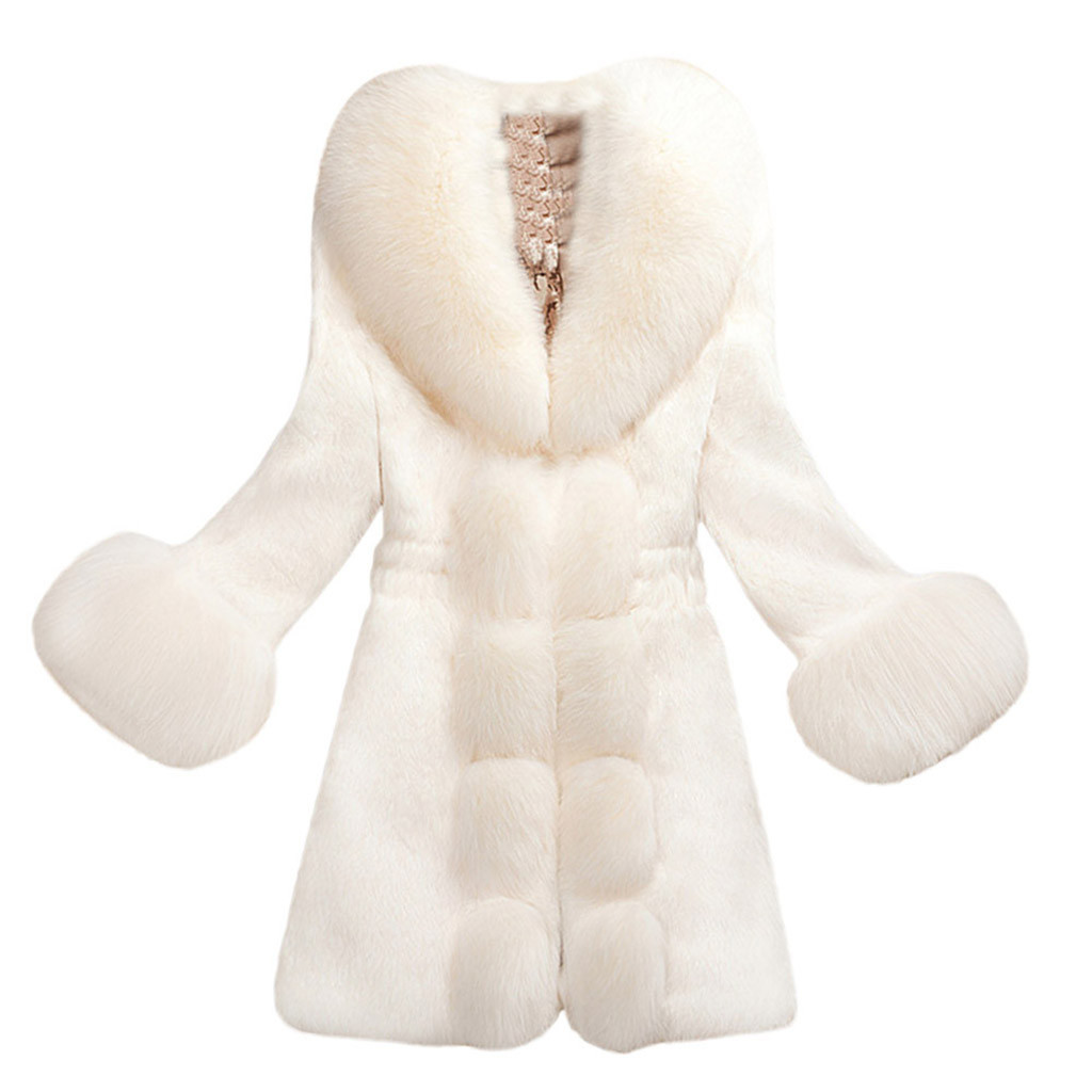 Winter Coat Women Regular Rayon Plush Solid Color Faux Fur Coat Regular Coats With Green Wine Black White Four Color To Choose