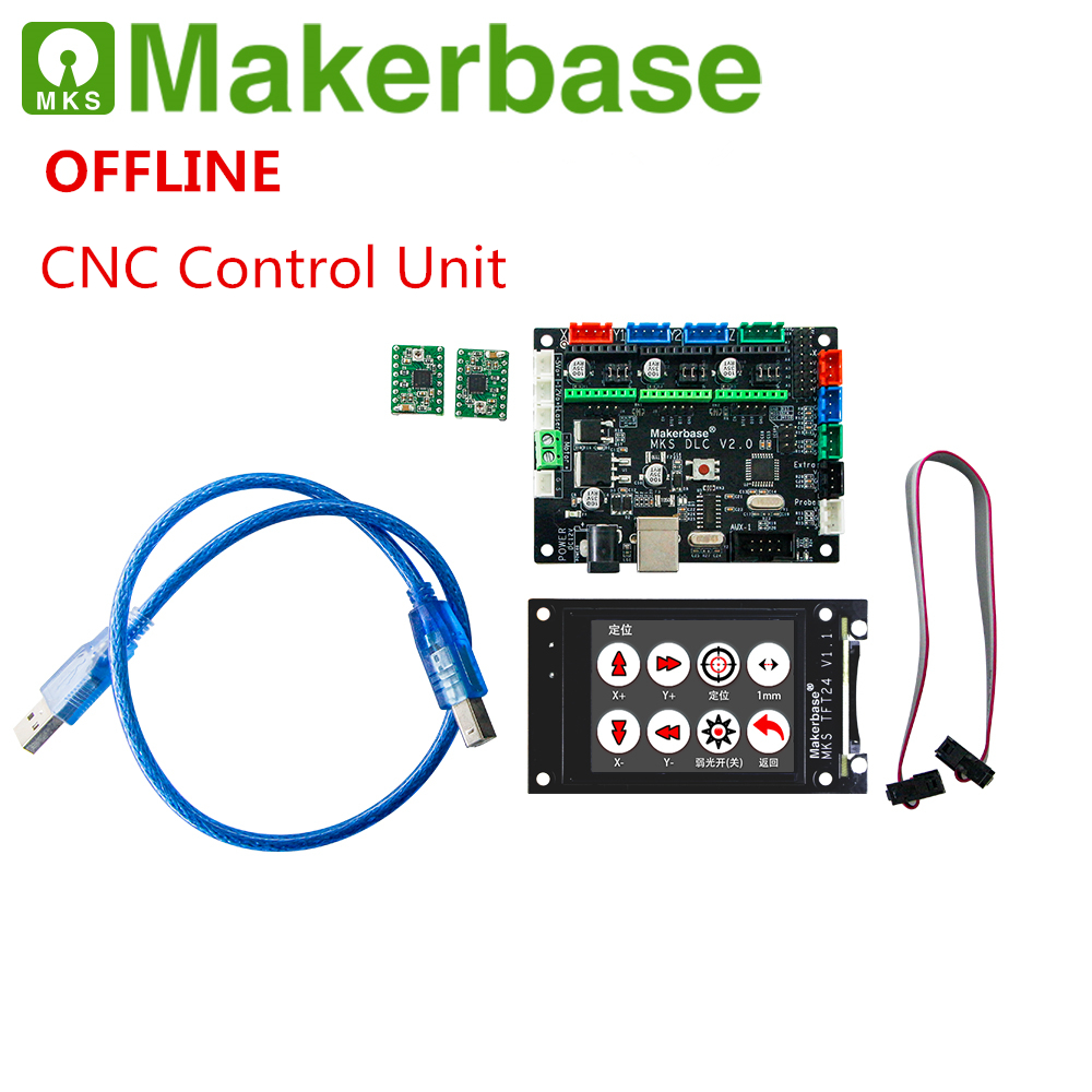 OFFLINE GRBL CNC laser breakout board MKS DLC + MKS TFT24 CNC touch screen TTL CNC shield DIY part 3 axis stepper driver board-in 3D Printer Parts & Accessories from Computer & Office    1