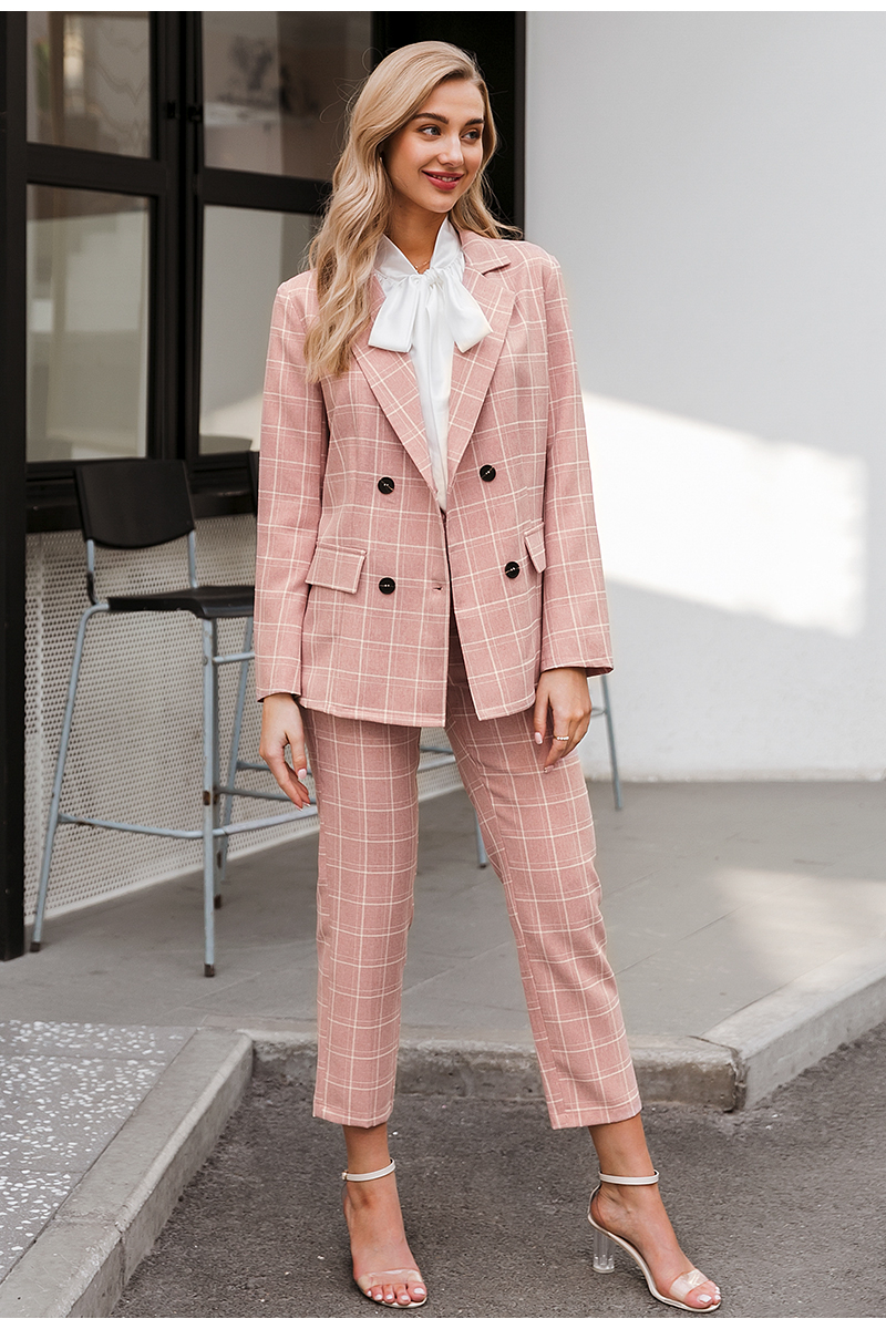 Hfd0718498c67420995a2c84e29673adch - Simplee Fashion plaid women blazer suits Long sleeve double breasted blazer pants set Pink office ladies two-piece blazer sets