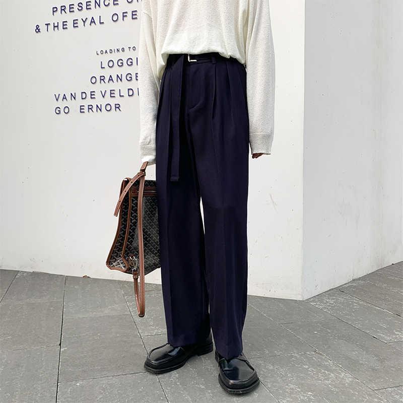 Homens calças de perna larga com cinto masculino feminino cintura alta solta casual streetwear vintage harem calças terno reto calças