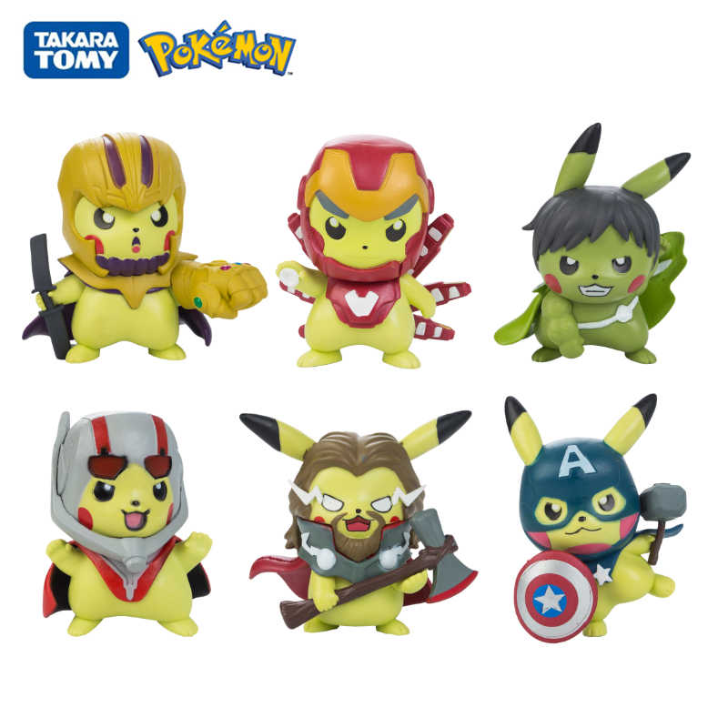 10PCS Pokemon Pikachu COS Avengers Characters Figure GK Decoration Model Toys
