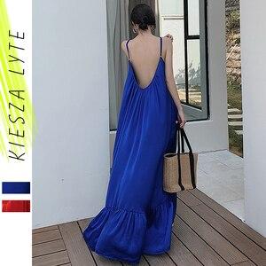 Женское пляжное праздничное платье в стиле бохо, красное, синее свободное платье без рукавов с открытой спиной, летнее платье