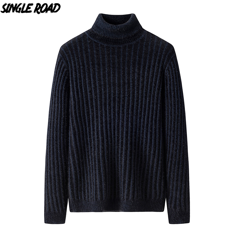 Single Road Turtleneck Sweater Men 2019 Solid Men's Winter Clothes Knitted Pullover Jumper Cashmere Sweaters Male High Quality