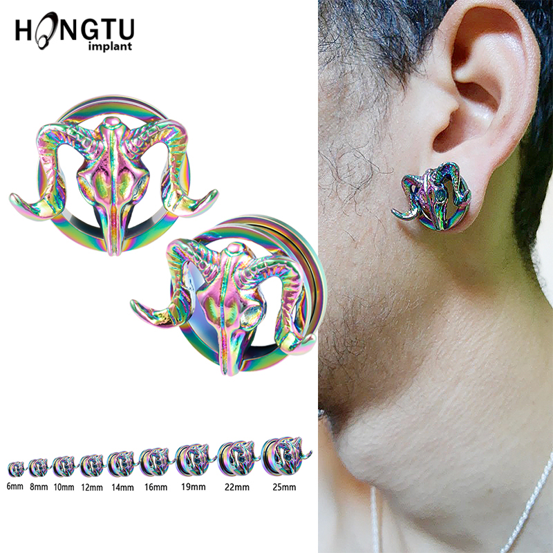 Star Steel Single Flared Ear Gauge Hollow PlugsSold As Pairs