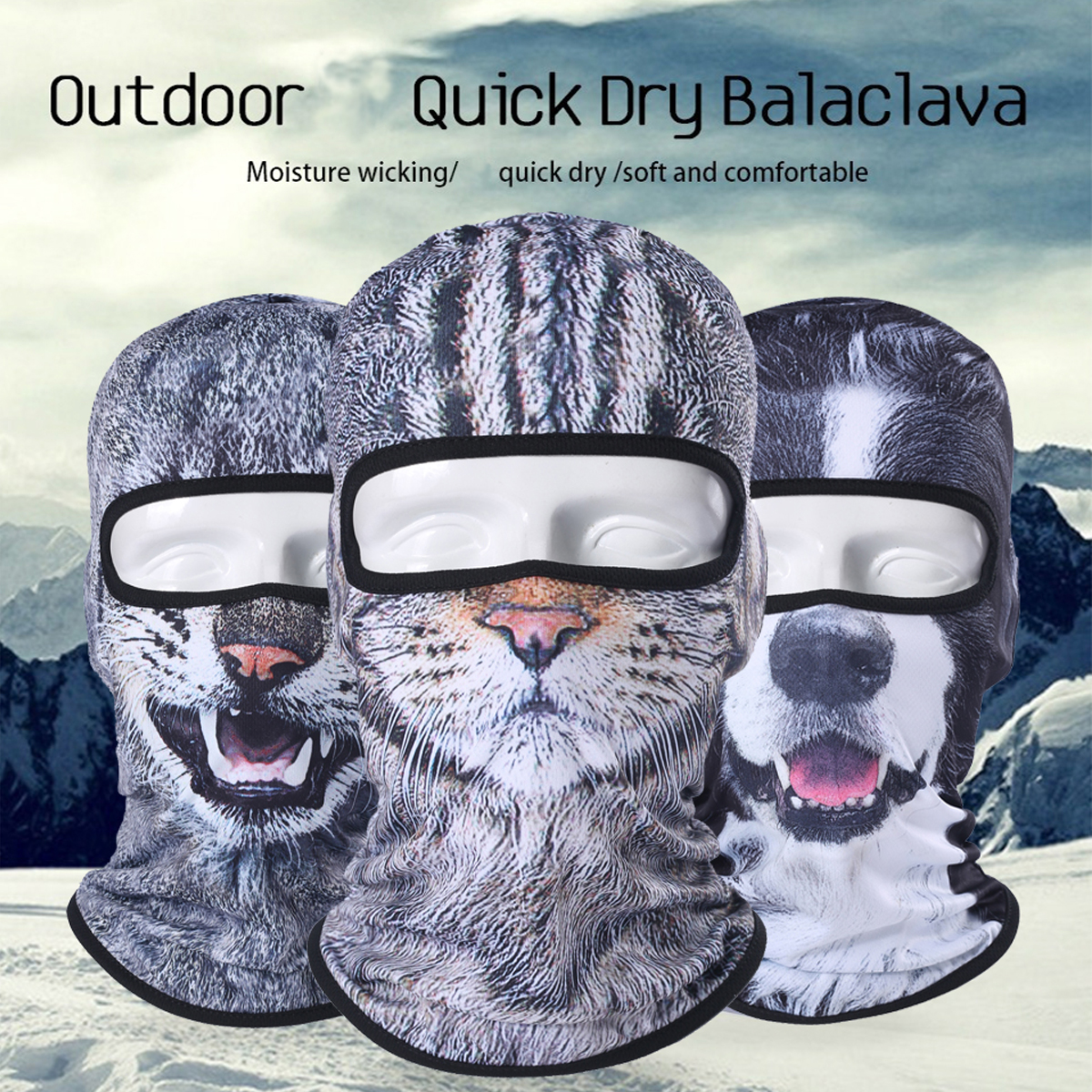 Image 3 - Balaclava Motorcycle Full Face Mask 3D Animal Cat Dog Hats Helmet Windproof Airsoft Paintball Snowboard Cycling Ski Halloween-in Motorcycle Face Mask from Automobiles & Motorcycles