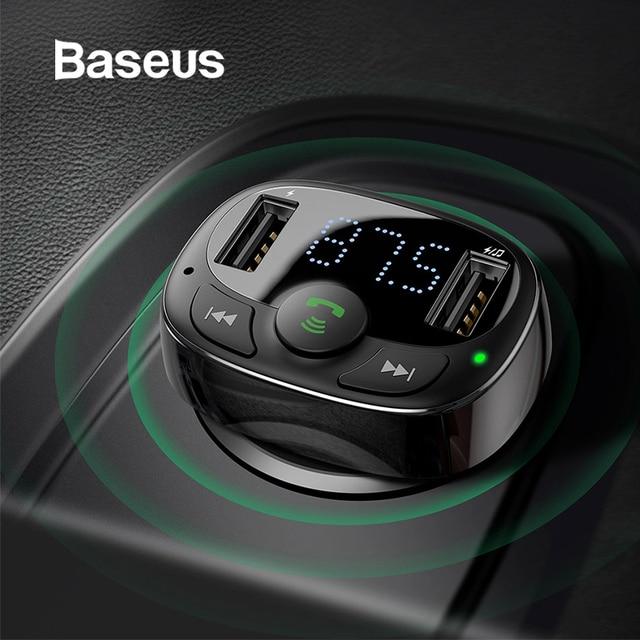 Baseus FM Transmitter Aux Modulator Wireless Bluetooth Handsfree Car Kit Car Audio MP3 Player Quick Charge Dual USB Car Charger 1