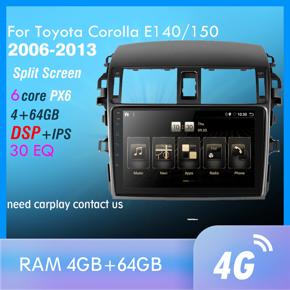 PX6 Android 10.0 DSP Car Radio For <font><b>Corolla</b></font> <font><b>E140/150</b></font> 2006-2013 Multimedia Video Player Navigation GPS wifi 4G OBD SWC TMPS image