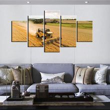 5 Panel Posters Retro Tractor Harvest On Farm Wall Art Pictures Home Decor Modular Canvas HD Paintings Living Room Decoration