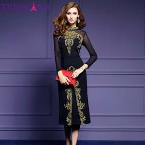Image 1 - TESSCARA 여성 가을 럭셔리 자수 드레스 페스타 여성 우아한 블랙 레트로 가운 Femme 고품질 디자이너 메쉬 Vestidos