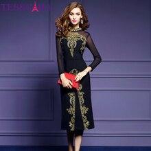 TESSCARA Women Autumn Luxury Embroidery Dress Festa Female Elegant Black Retro Robe Femme High Quality Designer Mesh Vestidos