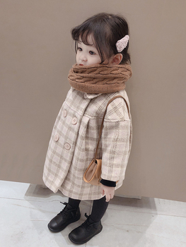 Baby Girls Double-Breasted Woolen Jacket Autumn Winter New Children's Casual Loose Outerwear Clothes Little Kids Plaid Coat P385